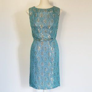 Vintage Silver, Gold & Teal Dress with Belt (S/M)